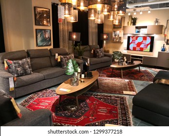 DOHA, QATAR - JANUARY 30: Interior view of dining room inside IKEA store. IKEA is the world's largest furniture retailer.