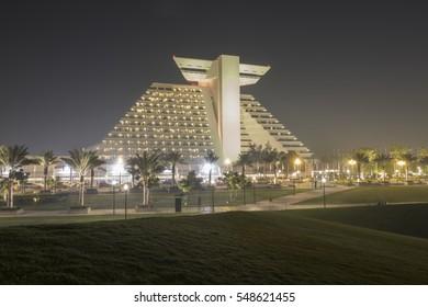 DOHA, QATAR - JANUARY 4: The Sheraton hotel illuminated at night. January 4, 2017 in Doha, Qatar, Middle East