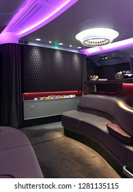 Doha, Qatar – January 5, 2019: Aircraft Lounge, Qatar Airways, Doha, Qatar, Middle East