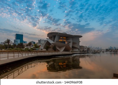 DOHA, QATAR - JUL 05: National Museum of Qatar at amazing sunset on Jul 2019 in Doha, Qatar, Middle East