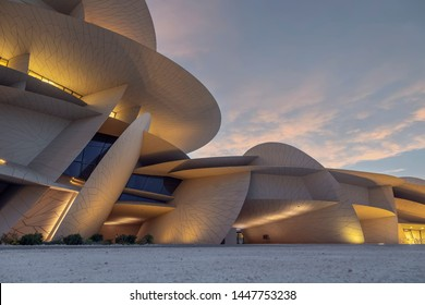 Doha, Qatar - July 05, 2019: Sunset View at Qatar National Museum