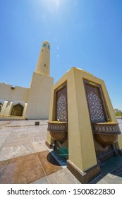 DOHA QATAR - JULY 10; Drinking water fountains on forecourt of  Islamic Grand Mosque is impressive modern Arabic architecture is the newest and largest mosque July 10 2019 Doha Qatar