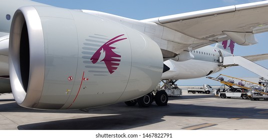 Doha, Qatar - July 16 2019: A close up view of one of the aircraft engines of the Qatar Airways viewed from the tarmac.