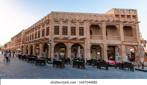 DOHA, QATAR - JUN 28, 2019: Tourist and local at Souq Wakif. Souq Wakif is one of the main traditional marketplace in Doha, Qatar, Middle East.
