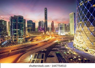 Doha, Qatar Jun 29, 2019: Beautiful Cityscape view of west bay area at sunset time