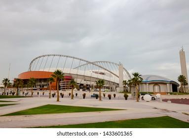 Doha, Qatar - June 2019 : Khalifa International Stadium in Aspire Zone, Doha
