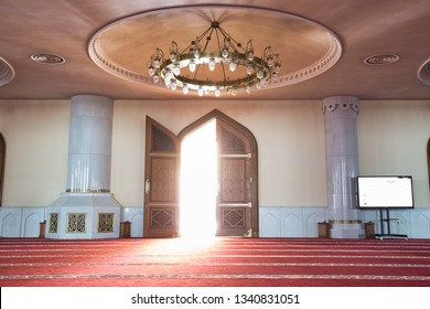 DOHA, QATAR - JUNE 4, 2014: Entrance door of Imam Muhammad ibn Abd al-Wahhab Mosque in Doha Qatar, also known as The Qatar State Grand Mosque
