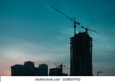 DOHA, QATAR - MAR 18: Lusail city in Doha. MAR 2018 in Doha, Qatar, Middle East.
