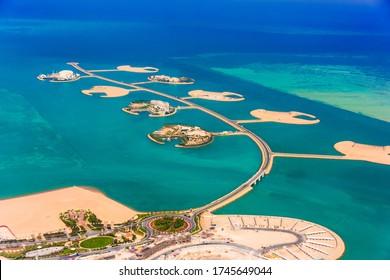 DOHA, QATAR - MAR 7, 2020: Aerial view of Isola Dana in the Pearl of Qatar in Doha, Qatar