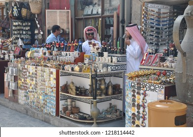 Doha, Qatar - March, 01, 2017: Vendor through the popular pedestrian area of Souk Waqif