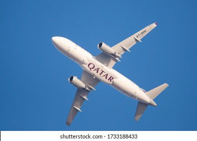 Doha, Qatar - March 10, 2020: Airbus A320-232 soon after take off from Hamad International Airport  DOH.
