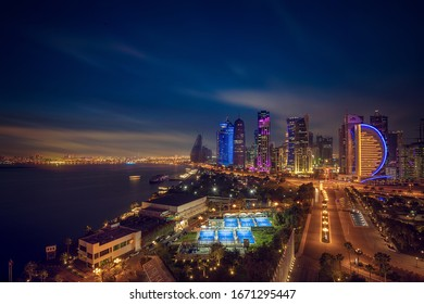 Doha, Qatar - March 12, 2020: Beautiful Sky line view of West bay after sunset. Financial Hub of City