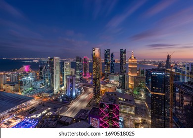 Doha, Qatar - March 13,, 2020: Aerial View of west bay area Doha City. Doha Buildings
