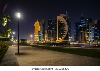 DOHA, QATAR - MARCH 15: The skyline of the West Bay area of Doha at dusk on March 15, 2016 in Doha, Qatar. The West Bay is considered as one of the most prominent districts of Doha