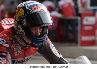 DOHA - QATAR, MARCH 16: Italian Ducati rider Andrea Dovizioso at 2018 MotoGP of Qatar at Losail circuit on March 16, 2018