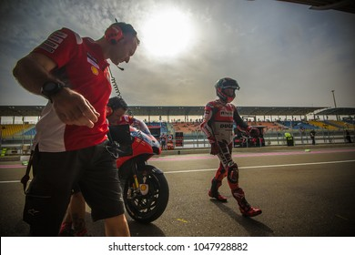 DOHA - QATAR, MARCH 16: Spanish Ducati rider Jorge Lorenzo at 2018 MotoGP of Qatar at Losail circuit on March 16, 2018