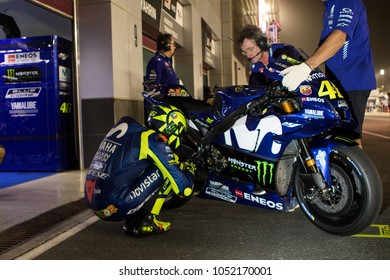 DOHA - QATAR, MARCH 17: Italian Yamaha rider Valentino Rossi at 2018 MotoGP of Qatar at Losail circuit on March 17, 2018