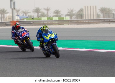 DOHA - QATAR, MARCH 17: Italian Suzuki rider Andrea Iannone at 2018 MotoGP of Qatar at Losail circuit on March 17, 2018