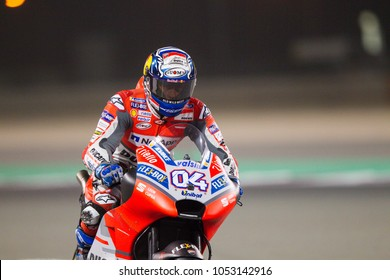 DOHA - QATAR, MARCH 17: Italian Ducati rider Andrea Dovizioso wins at 2018 MotoGP of Qatar at Losail circuit on March 17, 2018