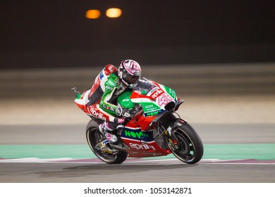 DOHA - QATAR, MARCH 17: Spanish Aprilia rider Aleix Espergaro at 2018 MotoGP of Qatar at Losail circuit on March 17, 2018