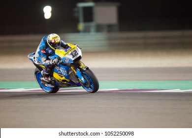 DOHA - QATAR, MARCH 17: Swiss Honda rider Tom Luethi at 2018 MotoGP of Qatar at Losail circuit on March 17, 2018