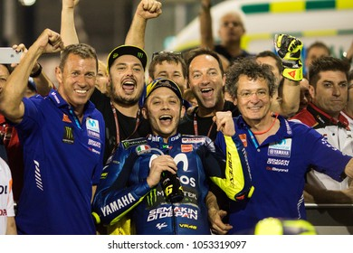 DOHA - QATAR, MARCH 18: Italian Yamaha rider Valentino Rossi at 2018 MotoGP of Qatar at Losail circuit on March 18, 2018