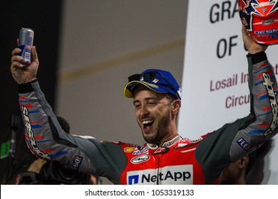 DOHA - QATAR, MARCH 18: Italian Ducati rider Andrea Dovizioso wins at 2018 MotoGP of Qatar at Losail circuit on March 18, 2018