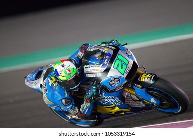 DOHA - QATAR, MARCH 18: Italian Honda rider Franco Morbidelli at 2018 MotoGP of Qatar at Losail circuit on March 18, 2018