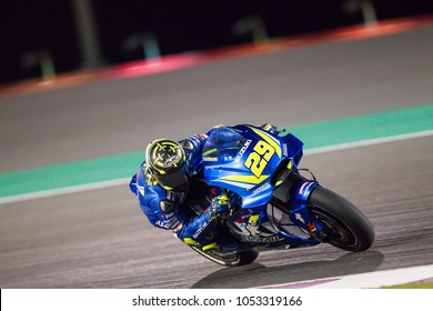 DOHA - QATAR, MARCH 18: Italian Suzuki rider Andrea Iannone at 2018 MotoGP of Qatar at Losail circuit on March 18, 2018