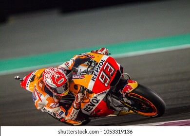 DOHA - QATAR, MARCH 18: Spanish Honda rider Marc Marquez at 2018 MotoGP of Qatar at Losail circuit on March 18, 2018