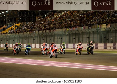 DOHA - QATAR, MARCH 18: Start of the race at 2018 MotoGP of Qatar at Losail circuit on March 18, 2018