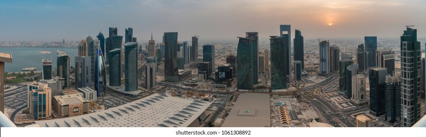 DOHA, QATAR - MARCH 20 / 2018 -  Panoramic view of the west bay Commercial Area, Doha, Qatar