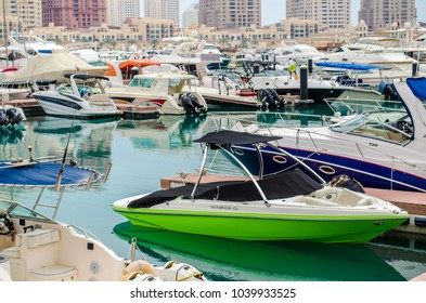 DOHA, QATAR - MARCH 2017: The Pearl-Qatar is an artificial island in Qatar. View of the Marina in Porto Arabia on March 02 nd 2017 in Doha, Qatar, Middle East