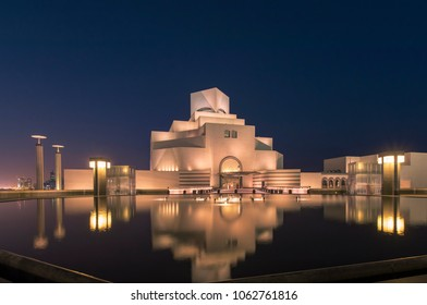 Doha, Qatar, March 2018 - A view of the Museum of Islamic Art in Doha, Qatar with beautiful reflections.