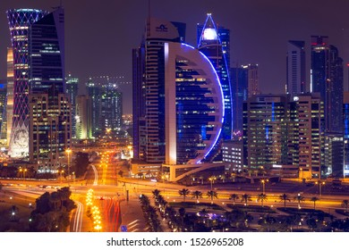 Doha, Qatar March 2019, Beautiful cityscape skyline of doha after rain