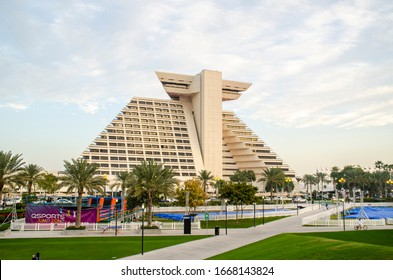 Doha, Qatar - March 2020: The Sheraton Grand Doha Resort & Convention Hotel is a five-star luxury hotel run by the Sheraton Hotels and Resorts overlooking the Persian Gulf in the West Bay area of Doha