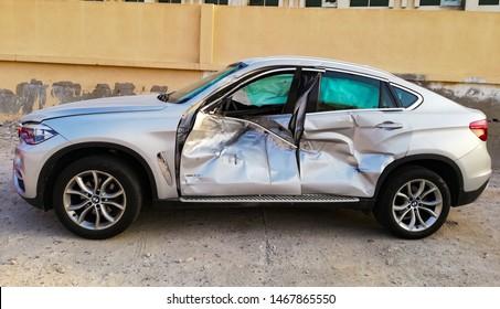 Doha, Qatar - March 23, 2019: crashed BMW car, Road Accident vehicle