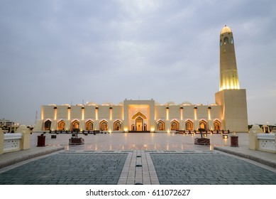 DOHA, QATAR - MARCH 29: The State Mosque of Qatar on March 29, 2017 in Doha, Qatar. Sheikh Muhammad Ibn Abdul Wahhab Mosque, also known as The Grand Mosque