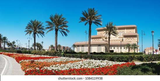 Doha, Qatar - March 3, 2018: Panoramic view of central district near the Pearl Boulevard in artificial island The Pearl-Qatar in Doha