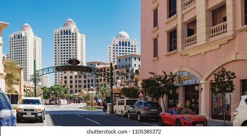 Doha, Qatar - March 3, 2018: Panoramic view of central district near the Pearl Boulevard in artificial island The Pearl-Qatar, Doha