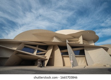 DOHA, QATAR - MARCH 3, 2020: The National Museum of Qatar is a national museum in Doha, Qatar. The museum opened to the public on 28 March 2019.