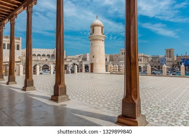 DOHA, QATAR - MARCH 5, 2019: Corridor of the Souq Wakif Mosque. Souq Wakif is the popular traditional market in Doha, Qatar, Middle East.