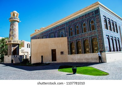 DOHA, QATAR - MAY 11: Blue Mosque in  the Katara cultural village  on May 11, 2018 in Doha, Qatar, Middle East.