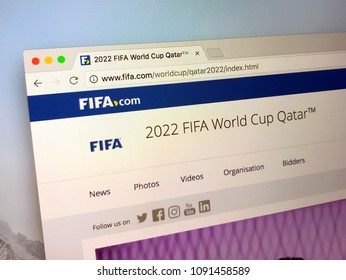 Doha, Qatar - May 15, 2018: Website of fifa.com, announcing the 2022 FIFA World Cup Qatar. Fifa is the International Federation of Association Football.