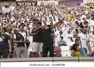 Doha, Qatar- May 19, 2017: During the Emir Cup match between Al Sadd SC and Al Rayyan SC at The Khalifa Stadium