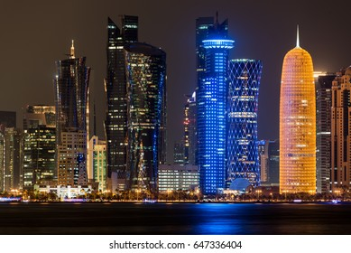 DOHA, QATAR - MAY 26: The skyline of the West Bay area of Doha at night on May 26, 2017 in Doha, Qatar. The West Bay is considered as one of the most prominent districts of Doha.
