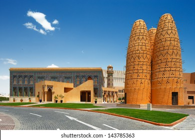 DOHA, QATAR - MAY 3: Pigeon towers of the Katara village on May 3, 2013 in Doha, Qatar. Katara is a cultural village in Doha, located on the eastern coast between West Bay District and the Pearl-Qatar