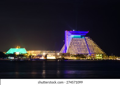 DOHA, QATAR - MAY 3: The Sheraton hotel illuminated at nigh. May 3, 2015 in Doha, Qatar, Middle East
