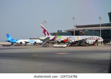 Doha, Qatar - May 30, 2018: Hamad International Airport, Jazeera Airways, Qatar Airways, Doha, Qatar
