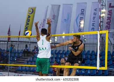 DOHA, QATAR - May 4: athletes during the AVC Beach Tour Qatar Master on May 4, 2017 in Doha, Qatar.